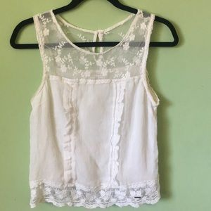 Abercrombie & Fitch white top w/ mesh NWOT size S